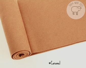 "Caramel wool felt sheets, pure wool felt in sheets and rolls, choose size,  20cm x 30cm or 20cm by 91cm (9"" x 36"") ships from Ireland"