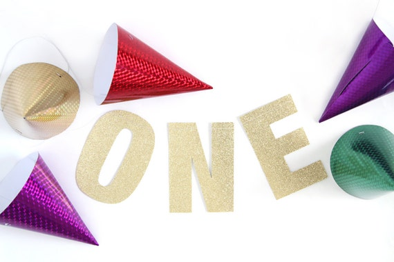 ONE Glitter Banner - Glitter Letters. First Birthday. High Chair Banner. Party Supplies. Party Decorations. Photo Prop. Gold Glitter.