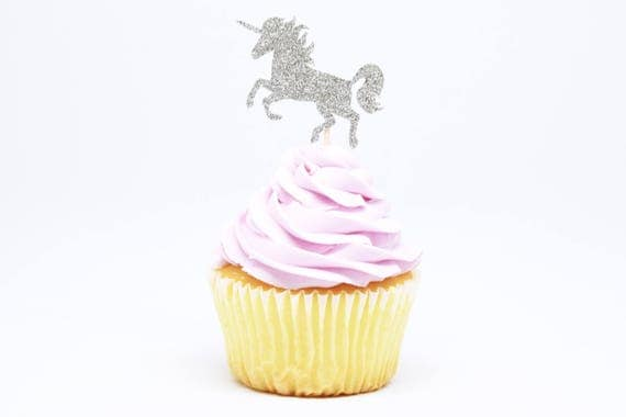 Unicorn Cupcake Toppers - Silver Glitter - First Birthday Decor. Unicorn Party Decor. Birthday. Bachelorette Party. Engagement Party Decor.