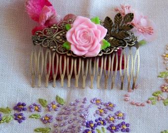 Rose Cabochon Hair Comb, Hair Accessories, Hair Combs, Hair Accents, Pink Rose Hair Accessories, Wedding Hair Combs, Women's Accessories