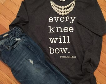 Every Knee Will Bow Graphic Tee T-shirt Short Sleeve