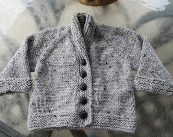 Hand knit little boy or girl's light grey tweed shawl collar cardigan