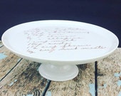 custom cake stand with recipe, foodie holiday gift, chefs gift, memorial gift, bridal shower, wedding gift, recipe plate, handwriting