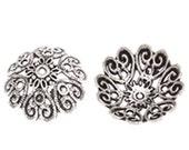 4pc 28mm antique silver metal large bead cap-7226k