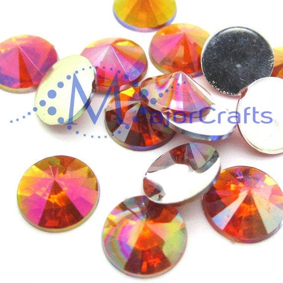 Red AB Round Flat Back Pointed Rivoli  Resin Rhinestones Embellishment Gems C11