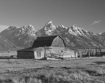 Black and White Landscape Photo, Western Decor, Moulton Barn Photo, Grand Tetons, Wyoming Photograph, Mountains Photograph, Barn Wall Art