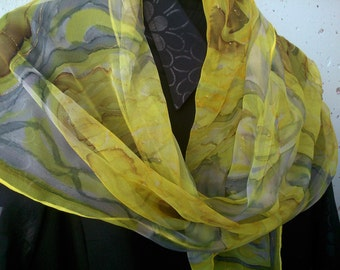 Canary Yellow Chiffon Scarf for Ladies. Contemporary Floral Design Hand Painted. Canary Yellow, Lemon, Grey, Sepia.16x59 in Chiffon Scarf
