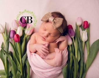 Newborn headband, burlap headband, baby bow, pink bow, tieback headband, photography prop, nylon headband, baby headband, baby girl, bow