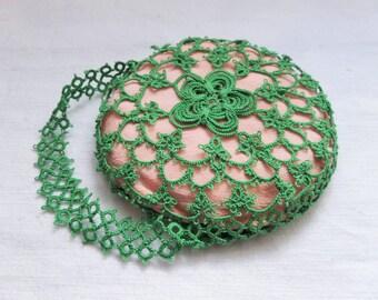 Vintage Tatting Pincushion Green