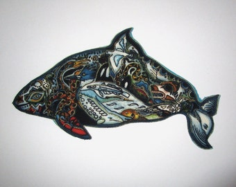 Whale Applique Iron On Patch 6""