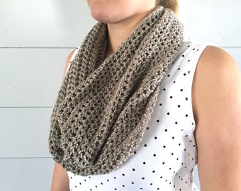 Neutral Infinity Scarf, Taupe Crochet Scarf, Chunky Infinity Scarf, Womens Fall Scarf, Oversized Cowl Scarf Under 40 Gift for her.