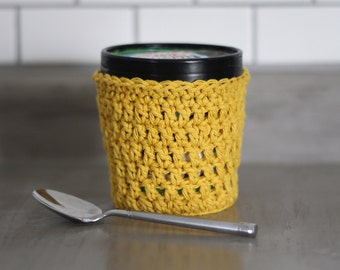 Ice Cream Carton Cover, Mustard Yellow Pint Container Sleeve. Gift for Teachers, Best Friend, Last Minute Gift for her.