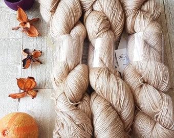Mulberry Silk and Camel yarn, 4ply yarn, super soft yarn, natural mulberry colourway, 4ply camel yarn, 4ply knitting yarn, luxury yarn, UK.