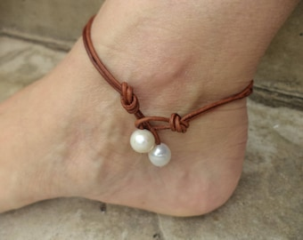 Pearl Anklet Leather Anklet Pearl Jewelry Leather Jewelry Pearl Body Jewelry Made in USA Cute Anklet Bohemian Anklet Boho Chic Made in Texas