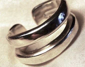 Open relationship silver ring, handmade, unusual