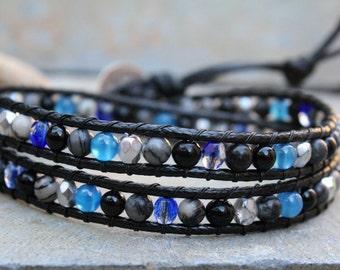 Beaded Wrap Bracelet, Blue Black Jewelry, Double Wrap Bracelet, Vegan Bracelet, Vegan Jewelry, Multi Stone Wrap, Boho Bracelet, Bohemian