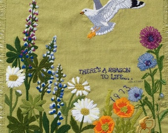 Paragon Crewel Embroidery Finished Vtg 1973 Jonathan Livingston Seagull Quote