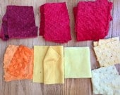 Minky Fabric Scrap Remnants - Red, Orange and Yellow