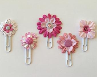 Planner Clips Pink Flowers journal accessories planner accessories bookmark