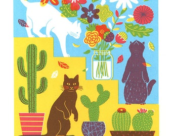 Cats Flowers, and Cactus