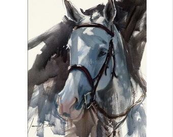 Horse Art - Matted Print of Original Oil Painting - Horses, Animals, For Boy, Girl, Equine, Equestrian, Animal Lovers, Dramatic Art