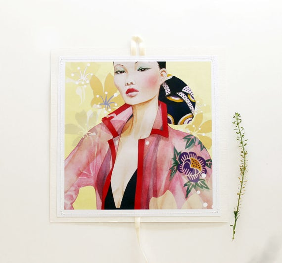 Sewn Postcards, mini art-prints, hanging postcards
