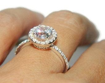 Halo Engagement Ring, Anniversary Ring, Pave Ring, Wedding Ring