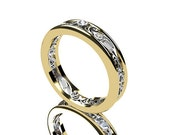 Reserved listing, filigree ring made from yellow and white gold and with 5 0.015ct H-Vs diamonds, custom filigree ring