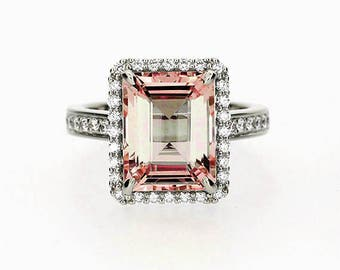 Emerald cut Morganite halo engagement ring, white gold, diamond engagement,Peach, custom, Morganite halo ring, unique engagement