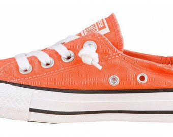 Custom Converse Red Mango Coral Orange Shoreline Slip on w/ Swarovski Crystal Rhinestone Jewel Bling Chuck Taylor All Star Sneakers Shoes