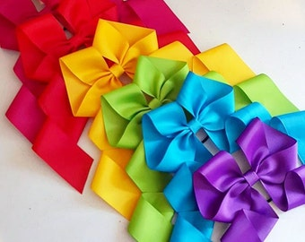 Rainbow Hair Bow Set of 10, Cheer bow Lot, Oversized Bows, Large, Cosplay, Marathon Accessory, Birthday Party favors, Costume Bow, Dance Bow