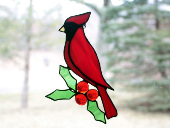 Cardinal with Holly Stained Glass Suncatcher
