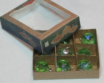BARBIE BLYTHE Miniature Christmas Tree Ornaments Vintage Shiny Brite Box w/ 9 Green Glass Ornaments 1:6 Scale Dollhouse Diorama Collectible