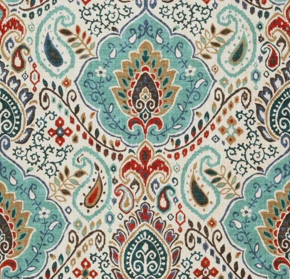Teal Red Paisley Upholstery Fabric - Custom Teal Red Grey Damask ...