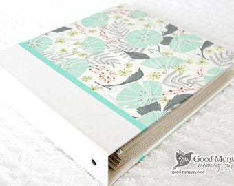 0 to 12 months Baby Memory Book - Minty Floral