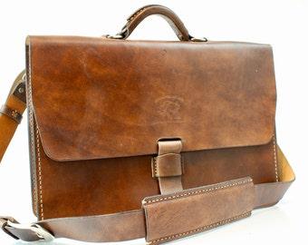 "Leather Messenger Bag  Leather Briefcase Laptop Satchel fits Macbook Pro 15"" 004"