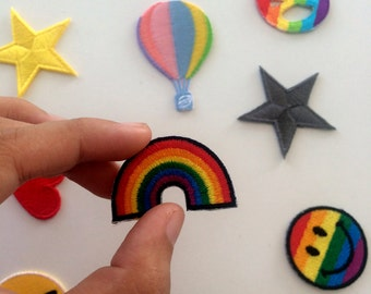 Rainbow patches, Rainbow iron on patches for denim jacket, jeans, clothing patches, dad hat, baseball cap, sew on patches, iron on patches