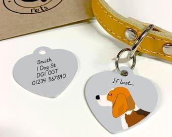 Beagle Dog Tag Personalised HEART Collar Tag - Beagle Puppy - Beagle Collar