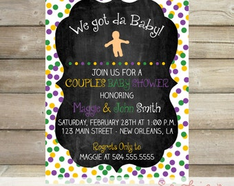 Mardi Gras Couples Baby Shower Invitation, Baby Sprinkle, King Cake Baby, Purple Green and Gold Confetti, King Cake Baby, Printable
