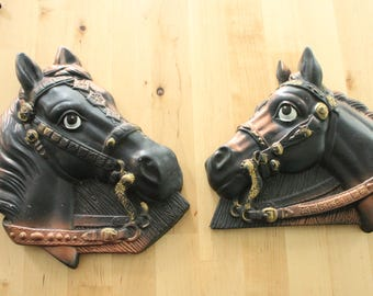Sweet vintage chalkware horses, ,Chalkware Pair of Horse Heads Plaques in Black and Copper, Equestrian Plaques Chalkware, Horse art