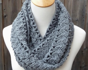 ON SALE - Gray Infinity Scarf - Crochet Infinity Scarf - Circle Scarf - Ready to Ship