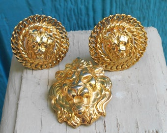 Vintage Anne Klein Lion earrings clip on 1970s jewelry lions head brooch pin Designers jewelry Free USA Shipping