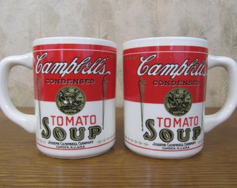 Vintage Pair Campbell Tomato Soup Mugs