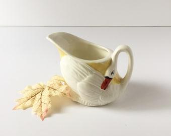 Vintage Swan Cream Pitcher, Lusterware Creamer, Figural Creamer, Made in Czechoslovakia