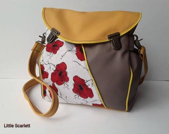 purse bag taupe leatherette and yellow and poppies tissue