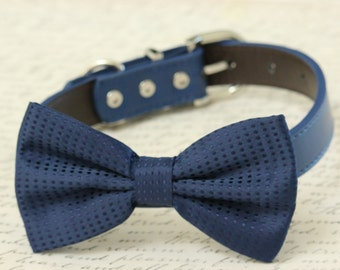 Navy Dog Bow tie Collar- Pet accessory - Dog Lovers - Bow attached to Leather collar - Dog Birthday gift - Some thing blue - Polka dots