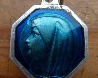 Antique French blue enamel Religious Medal Our Lady of Lourdes / Miraculous water    Pendant Old  Charm jewelry S/1
