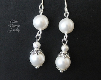 Swarovski Pearl Earrings, Swarovski Earrings, Pearl Earrings, Dangle Earrings, Bridesmaids Gifts, Wedding Jewelry. SERENA