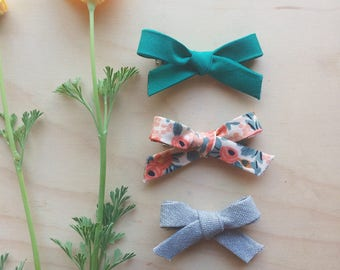 Dainty Bows w/ Alligator Clips Pack of THREE // Please specify your choice of styles at checkout