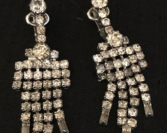 Bridal Earrings Rhinestones Vintage Clips Fancy Dangles for Evening or Wedding
